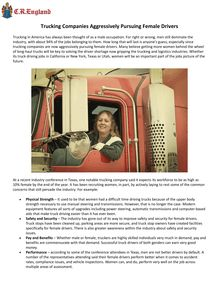 Trucking Companies Aggressively Pursuing Female Drivers