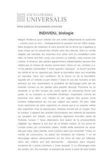 Définition de : INDIVIDU, biologie - Pierre SONIGO