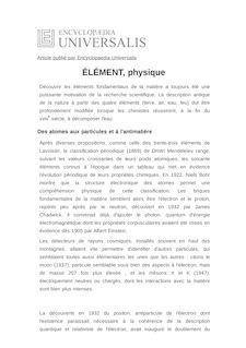 Définition de : ÉLÉMENT, physique - Bernard PIRE