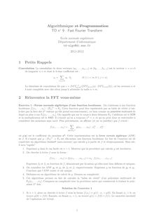 Algorithmique et Programmation TD n Fast Fourier Transform