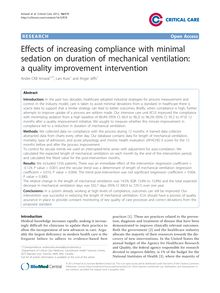 Effects of increasing compliance with minimal sedation on duration of mechanical ventilation: a quality improvement intervention