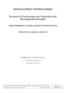 Baccalauréat ETT 2016 - Série STI2D