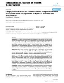 Geographical variations and contextual effects on age of initiation of sexual intercourse among women in Nigeria: a multilevel and spatial analysis