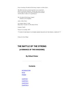 The Battle of the Strong — Complete - A Romance of Two Kingdoms