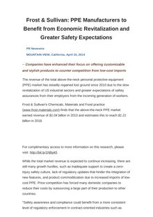 Frost & Sullivan: PPE Manufacturers to Benefit from Economic Revitalization and Greater Safety Expectations