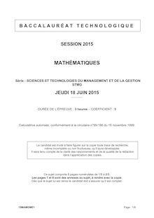 Bac 2015 - Maths- Bac STMG