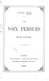 Voix perdues, oeuvre posthume