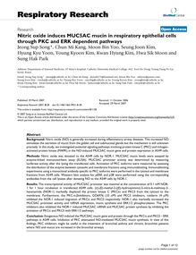 Nitric oxide induces MUC5AC mucin in respiratory epithelial cells through PKC and ERK dependent pathways