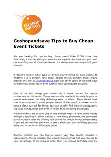 Goshopandsave Tips to Buy Cheap Event Tickets