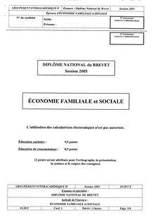 Brevet economie familiale et sociale 2005