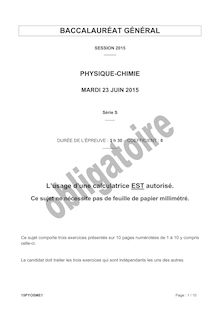 Bac 2015 - Physique-Chimie - Bac S