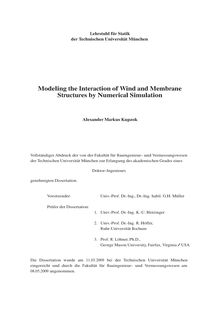 Modeling the interaction of wind and membrane structures by numerical simulation [Elektronische Ressource] / Alexander Markus Kupzok