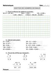 Addition des nombres décimaux 2