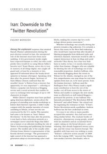 "Iran: Downside to the ""Twitter Revolution"""
