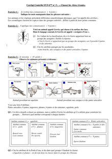 Exercice Corrigé sur la classification des êtres vivants - SVT 6e