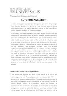 Définition de : AUTO-ORGANISATION - Annick LESNE
