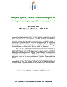 Europe in global, innovation-based competition: