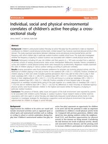 Individual, social and physical environmental correlates of children