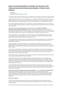 Improved Interoperability to Sustain the Growth of the Videoconferencing Infrastructure Market, Finds Frost & Sullivan