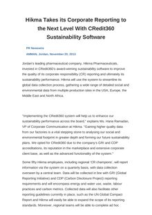 Hikma Takes its Corporate Reporting to the Next Level With CRedit360 Sustainability Software