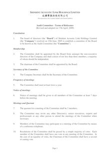 Terms of Reference - Audit Committee  Adopted on 17.04.2009