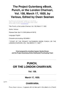 Punch, or the London Charivari, Volume 158, March 17, 1920