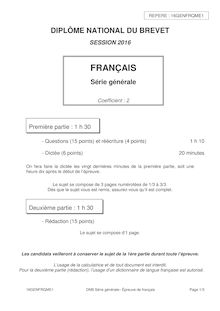 Sujet du Brevet 2016 - Français questions, réécriture