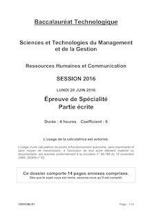 Baccalauréat Ressources Humaines et Communication 2016 - Série STMG