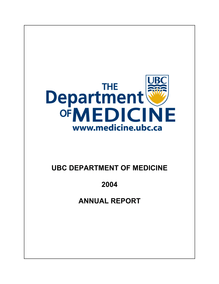 UBC DEPARTMENT OF MEDICINE 2004 ANNUAL REPORT