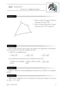 Cours et activités, Vecteurs et configurations planes Activité 5