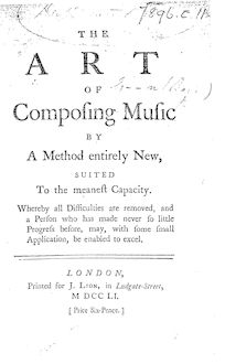 Partition Complete book, pour Art of Composing Music by a Method Entirely New