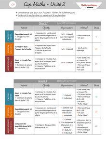 Mathématiques CP – Préparation des séances, leçons et fiches d'exercices - Période 1 – Cap Maths Unité 2 Organisation des séances