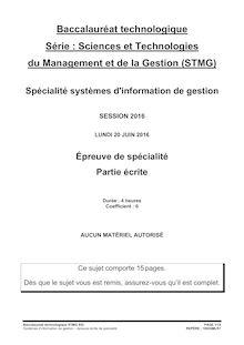 Baccalauréat SIG 2016 - Série STMG