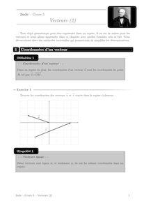 Cours et activités, Vecteurs (2) Cours 5