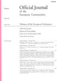 Official Journal of the European Communities Debates of the European Parliament 1985-86 Session. Report of Proceedings from 11 to 15 November 1985