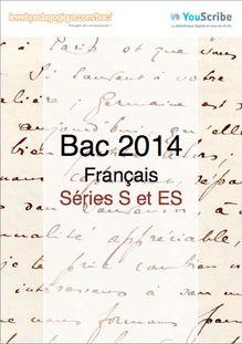 Corrigé bac 2014 première - Séries ES et S - Français