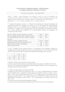Economie descriptive 2003 Sciences Economiques et de Gestion Université Paris 1