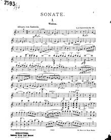 Partition de violon, violon Sonata, A minor, Paderewski, Ignacy Jan