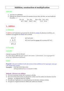 Addition, soustraction et multiplication - le cours