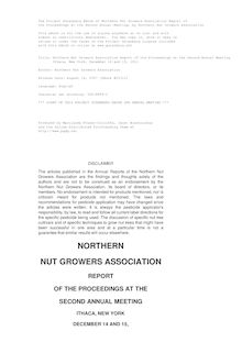 Northern Nut Growers Association Report of the Proceedings at the Second Annual Meeting - Ithaca, New York, December 14 and 15, 1911