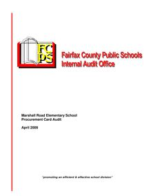 Marshall Road Elementary School Procurement Card  Audit