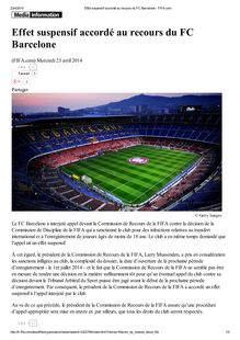 Effet suspensif accordé au FC Barcelone : document de la FIFA
