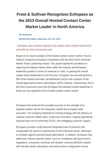 Frost & Sullivan Recognizes Echopass as the 2013 Overall Hosted Contact Center Market Leader in North America