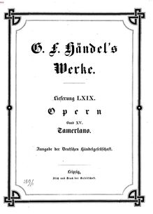 Partition complète, Tamerlano, Handel, George Frideric