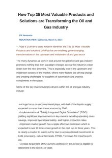 How Top 35 Most Valuable Products and Solutions are Transforming the Oil and Gas Industry