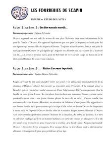 Résumé et étude de l'acte 1 des Fourberies de Scapin