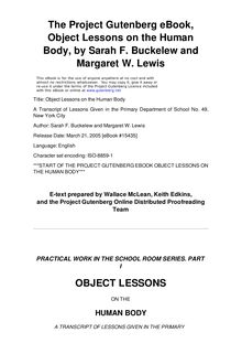 Object Lessons on the Human Body - A Transcript of Lessons Given in the Primary Department of School No. 49, New York City