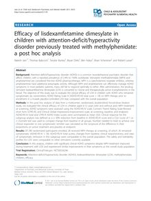 Efficacy of lisdexamfetamine dimesylate in children with attention-deficit/hyperactivity disorder previously treated with methylphenidate: a post hoc analysis