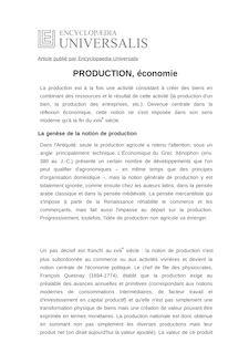 Définition de : PRODUCTION, économie - Marc PÉNIN