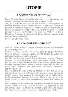 Résumé de la colonie de Marivaux